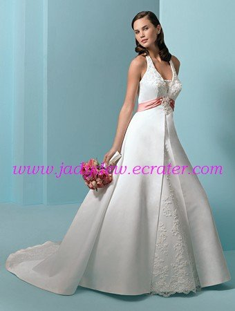 Noble/Halter/Sweetheart Neckline/A-Line/Princess/Floor Length/Satin/Wedding Dress/AA087