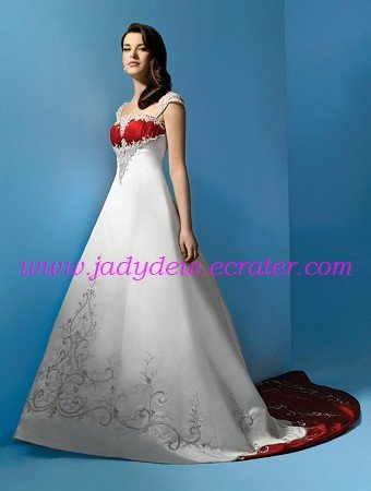 A-line/Off the shoulder/white and red satin Embroidery with Chapel trailing/Wedding  Dress/AA085