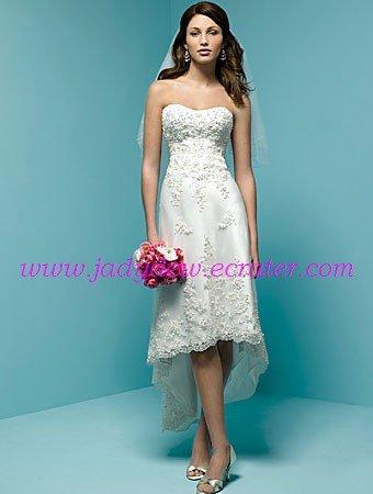 A-line/Sweatheart/Satin&Organza/Knee Length/Wedding Dress/AA080