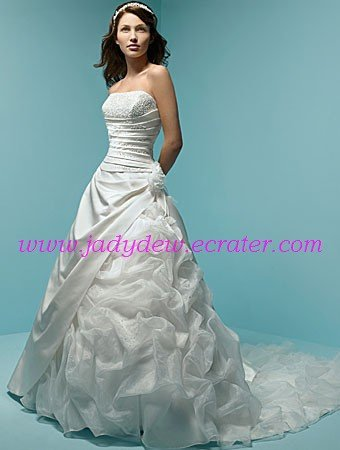 Graceful/Strapless/Satin&Ice/Yarm with Handwork/Flower A-Line/Princess/Wedding Dress/AA073