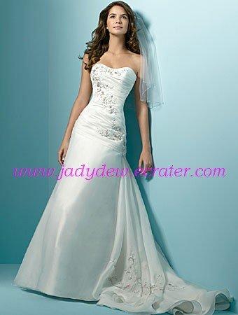 Decent/Strapless/Satin&Organza/A-Line/Princess/Floor Length/Wedding Dress/AA071