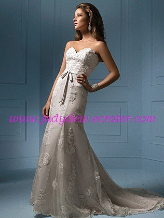 Free shipping!!Strapless/Sweetheart Neckline/A-Line/Princess/Lace Wedding Dress/AA070