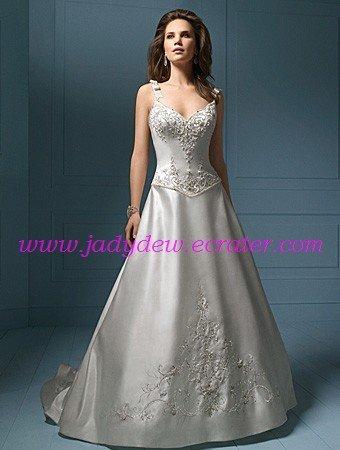 Elegant/Spaghetti Strap/Sweetheart Neckline/A-Line/Princess/Floor Length/wedding dress/AA069