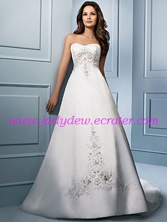 Graceful/Strapless/A-Line/Princess/Floor Length/Satin&Mesh/Wedding Dress/AA068