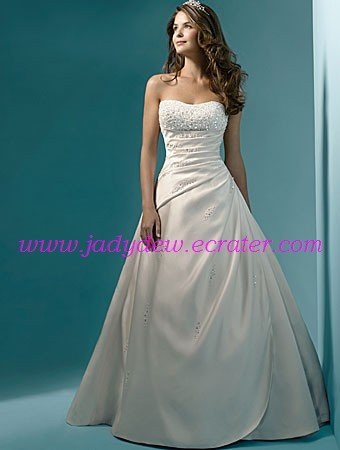 Exquisite/Strapless/A-Line/Princess/Floor Length/Satin with/Appliques/Wedding Dress/AA066