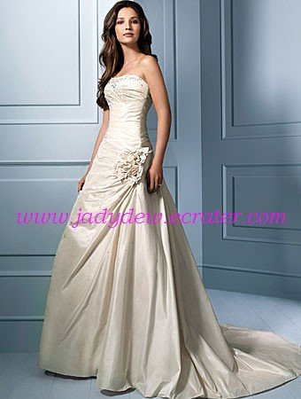Elegant/Strapless/A-Line/Princess/Floor Length/Taffeta/with Handmade Flower/Wedding Dress/AA062