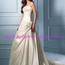 Elegant/Strapless/A-Line/Princess/Floor Length/Taffeta/with Handmade Flower/Wedding Dress/AA062