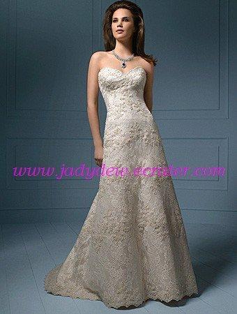 Graceful/Strapless/Sweetheart Neckline/A-Line/Princess/Floor-Length/Wedding Dress/AA060