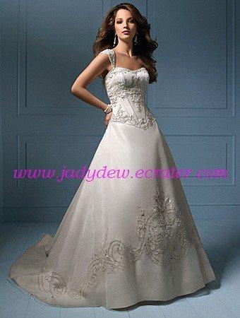 Noblest/Detachable/Cap Sleeves/A-Line/Princess/Floor Length/Bridal Gown/AA058