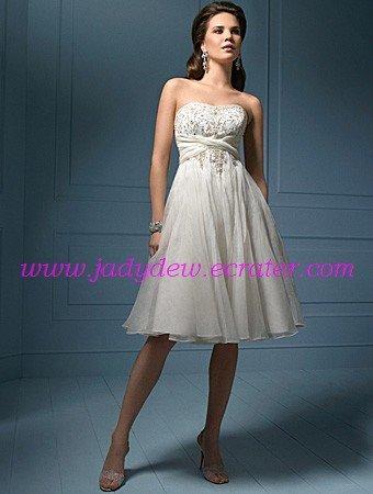 Lovely/Sweetheart Neckline/Strapless/Organza&Stretch/Satin/Knee-Length/Wedding Dress/AA057