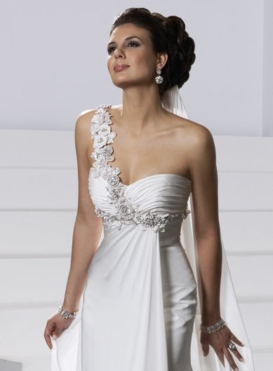 Sheath/Sweatheart/one-shoulder/Chiffon/Chapel train/Bridal Wedding Dress/GG036