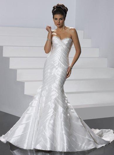 Free Shipping/Mermaid/Sweatheart/Satin/Chapel train/Bridal Wedding Dress/GG019
