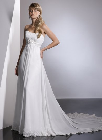 Free Shipping/A-line/Sweatheart/Chiffon/Chapel train/Bridal Wedding Dress/GG021