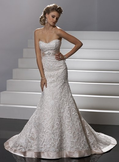 luxurious/Sheath/Sweatheart/Satin&lace/Floor length/Bridal Wedding Dress/GG032