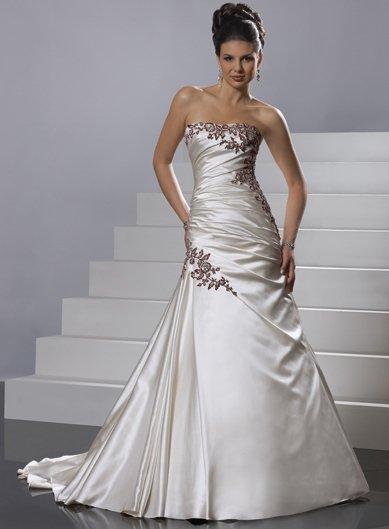 Satin with Burgundy Appliqued A-line One-shouder Chapel Trailing Wedding Dress GG039