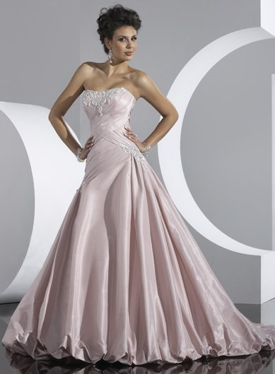 Free Shipping/Pink Taffeta with Appliqued and Beadings A-line Strapless Wedding Dress/GG058