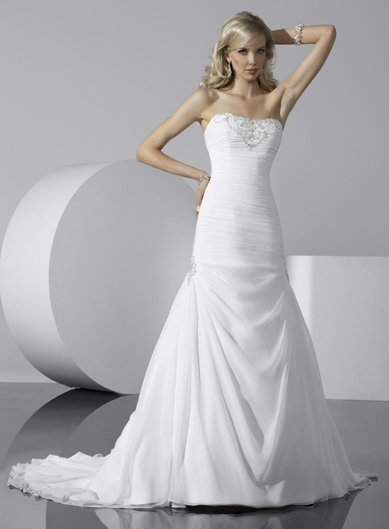 Free Shipping/White Chiffon with Crystal Beadings A-line Strapless WEDDING DRESS GG089