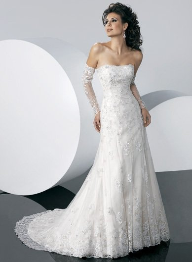 Free Shipping/Tulle with Appliqued Strapless A-line Chapel Train Wedding Gown GG102