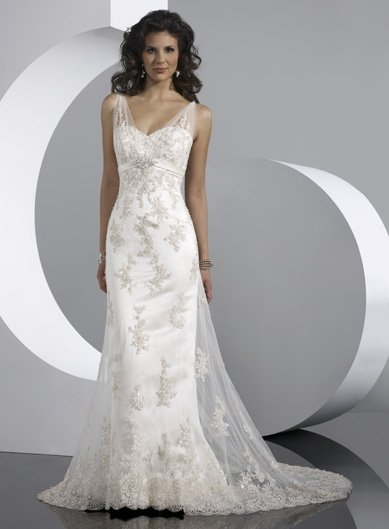 Free Shipping/A-Line/Sleeveless/Satin&Mesh/Sweep length train/Bridal Wedding Dress/GG103