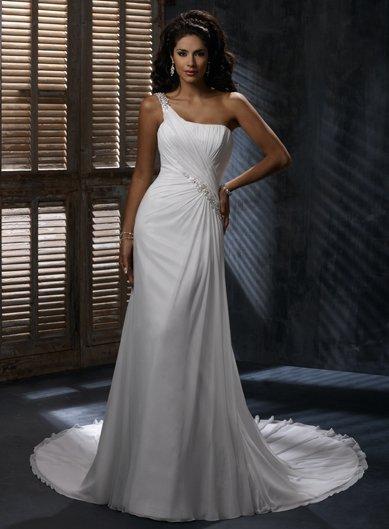 Free Shipping/A-line/One-shoulder/Satin&Chiffon/Sweep length train/Bridal Wedding Dress/GG107