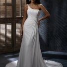 Free Shipping/A-line/One-shoulder/Satin&Chiffon/Sweep length train/Bridal Wedding Dress/GG107
