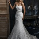 Free Shipping/Organza with Crystal Beadings Mermaid Strapless Bridal Wedding Gowns GG110