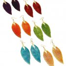 Large Leaf Metal Earrings Blue