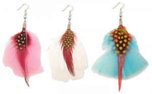 Colorful Feather Earrings Pink