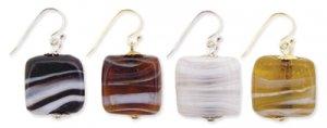 Glass Bead Earrings White
