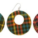 Round Cutout Plaid Fabric Earrings Red