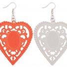 Enamel Heart Cutout Lace Earrings White