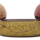Etched Flower Metal Bangle Yellow