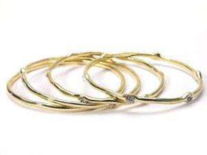 Gold Tone Bangles with Rhinestone