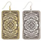 GoldRectangle Floral Etched Earrings