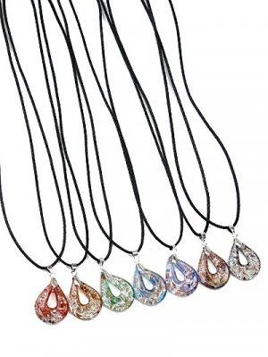 Glass Pendant Necklaces Light Blue