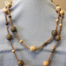 Brown Plastic Woodlike Asian Bead Necklace