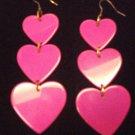 Plastic Heart Drop Heart Earrings Pink