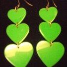 Plastic Heart Drop Heart Earrings Green