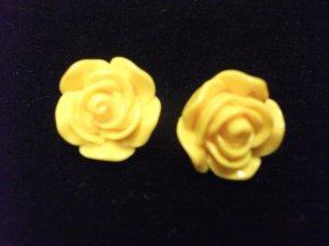 Small Plastic Rose Earrings Yellow