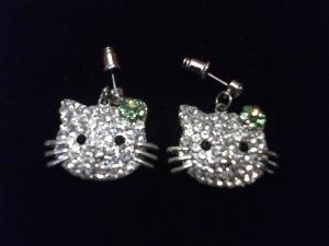 Kitty Rhinestone Earrings Green