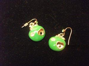 Green Apple & Gold Tone Earrings Style 2