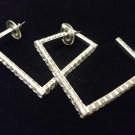 Rhinestone Hoop Earrings Square Medium