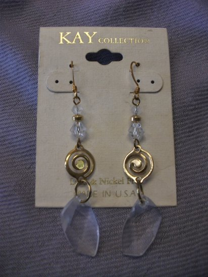 Large Crystal and Gold Tone Dangle Earring