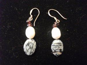 Freshwater Pearl and Black Stone Earrings