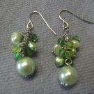 Small Green Round Bead Earring with Freshwater Pearl