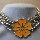 Flower Choker Heavy Chain Necklace Orange