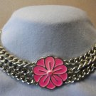 Flower Choker Heavy Chain Necklace Pink