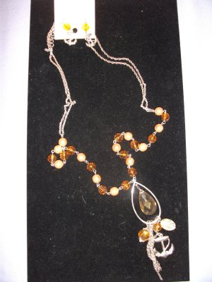 Nautical Inspired Necklace Chain Gems and Pearls Bronze with Matching Anchor Earrings