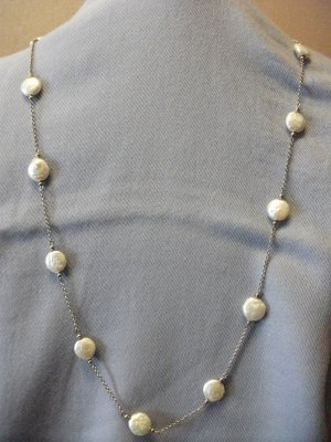 Freshwater Pearl Silver Chain Long Necklace