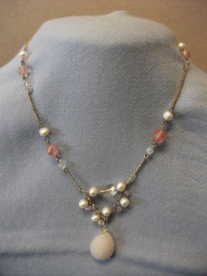 Rose Quartz Bead & Freshwater Pearl Necklace with Matching Earrings